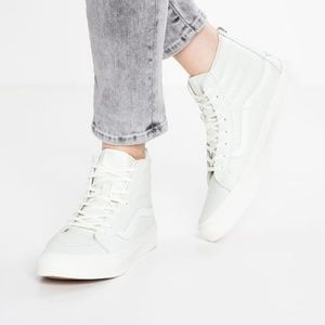 New High Top Pale Mint Leather Zip Vans Trainers